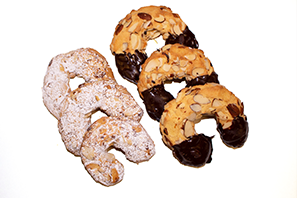 C9 C10 Chocolate Dipped and Confectioners Sugared Almond Horseshoe Cookie